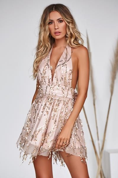 d48840491575 Perfect Date Sequin Dress (Rose Gold) – Xenia Boutique