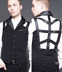 This Lip Service guys' black Political Economist gabardine and vegi leather harness back vest is so unique! It is available in large and XL at http://www.ipso-facto.com/vamp.htm