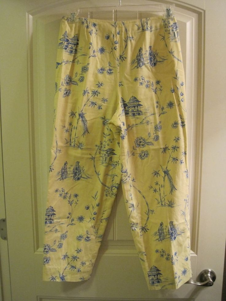 In like new condition. Back hidden zipper. Cute chinese yellow and blue pattern. Long cropped style, not capris.   eBay!