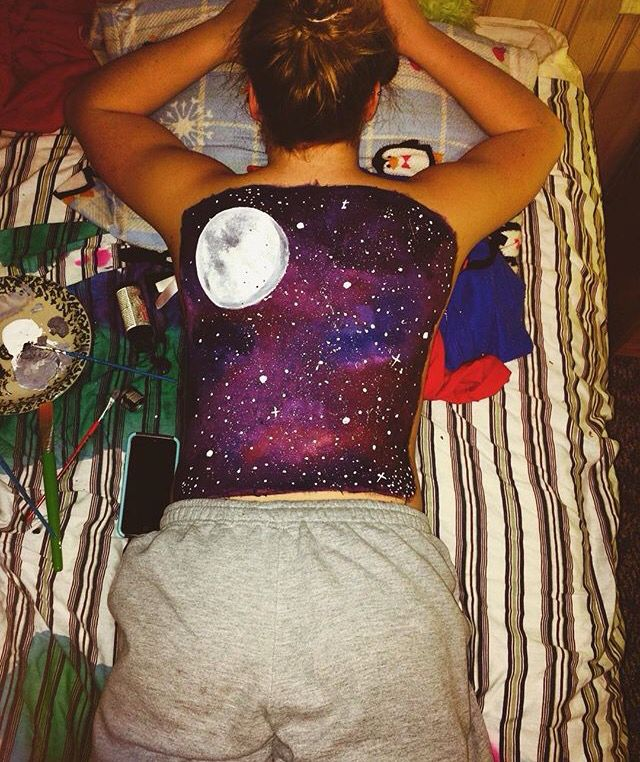 Back Painting Acrylic Color Galaxy Body Art