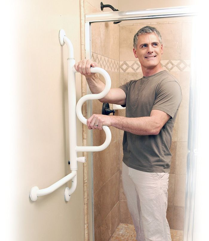 Bath Aids for Disabled and Other Aids | The Curve Grab Bar - Pivoting Ladder Assist Handle and Wall-Mounted Bathroom Standing Mobility Aid