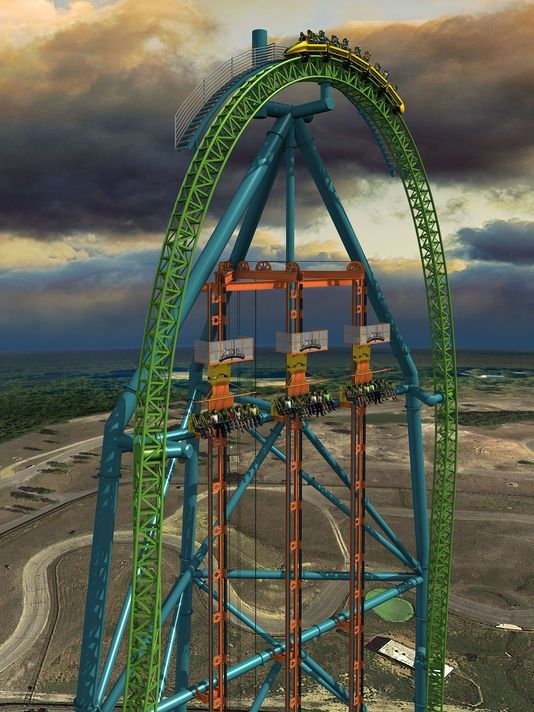 Zumanjaro - new six flags ride attached to Kingda Ka.  Zooms you up to 421 feet in 10 seconds and then drops your ass!