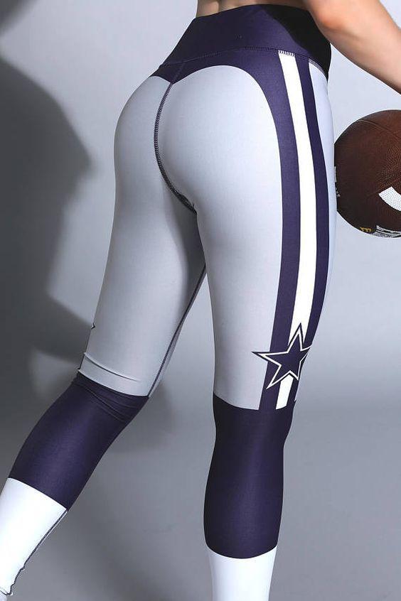 42bca72a8 Dallas Cowboys USA Football Gym Leggings Workout Fitness