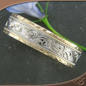 Two-Tone Men's Engraved Wedding Band at Green Lake Jewelry