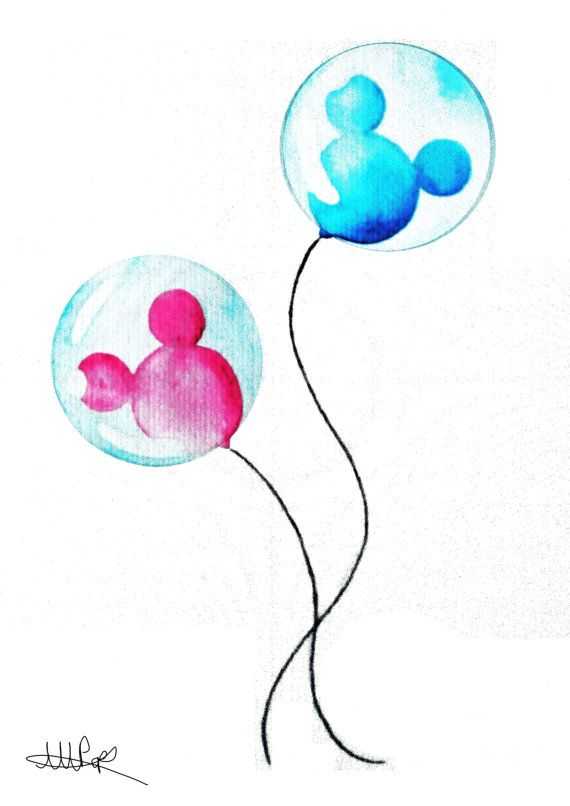 Disney Theme Park Balloons Watercolor Print by CoconuTacha on Etsy, £10.00