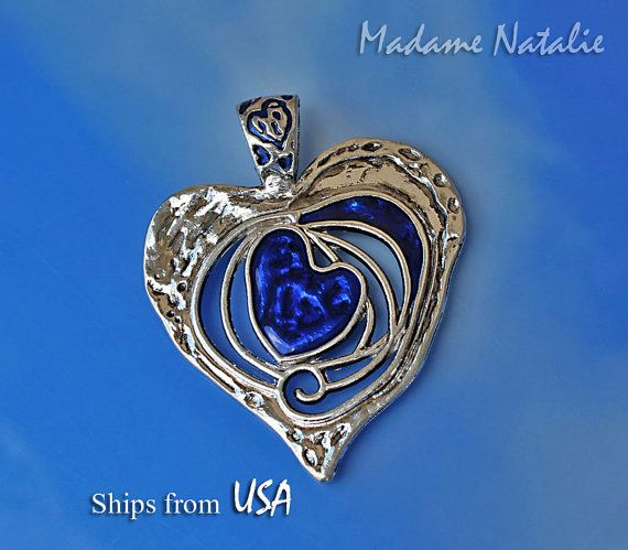 Colgante corazón grande azul zafiro (1), gran corazón, largo suéter colgante collar de corazón, corazón de plata colgante del esmalte azul oscuro