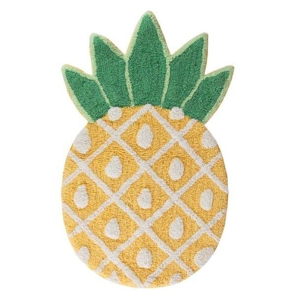 Tropical Pineapple Rug (1.080 RUB) ❤ liked on Polyvore featuring home, rugs, tropical rugs, pineapple rug, tropical area rugs, cotton rugs and cotton area rugs