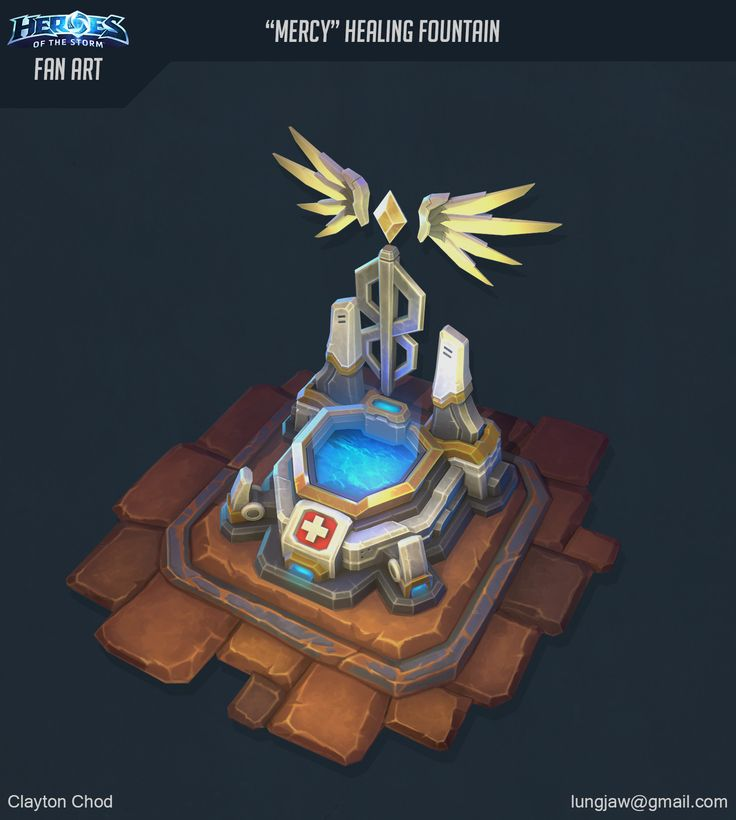 This was a particularly fun project. My objective was to adapt the design of Mercy from Overwatch as a Healing Fountain that could be found in Heroes of the Storm.