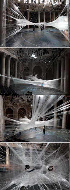 Packing Tape Spiderweb Installation  #ephemeral #installation #art #temporary #architecture #installation #arquitectura #efimera #instalacion #arte #architettura #effimera