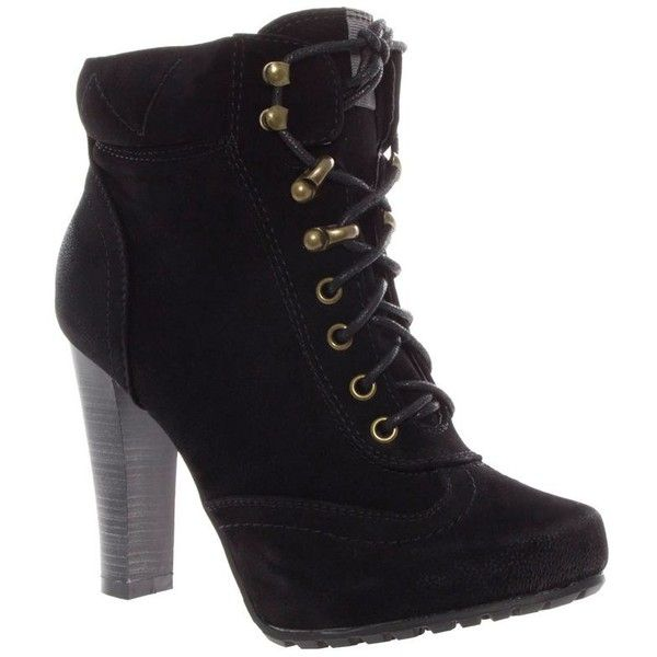 Black Block Heel Biker Style Lace Up Ankle Boots (€41) ❤ liked on Polyvore featuring shoes, boots, ankle booties, heels, sapatos, botas, women's clothing, block heel booties, black lace up booties and short black boots