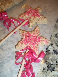 Rice Krispy treat Princess Wands. Also try with sugar cookies so you can decorate with frosting.