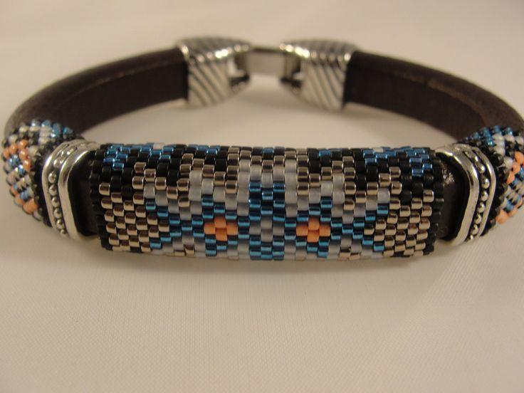 Peyote Beadwoven Licorice Leather Bracelet by Calisi on Etsy