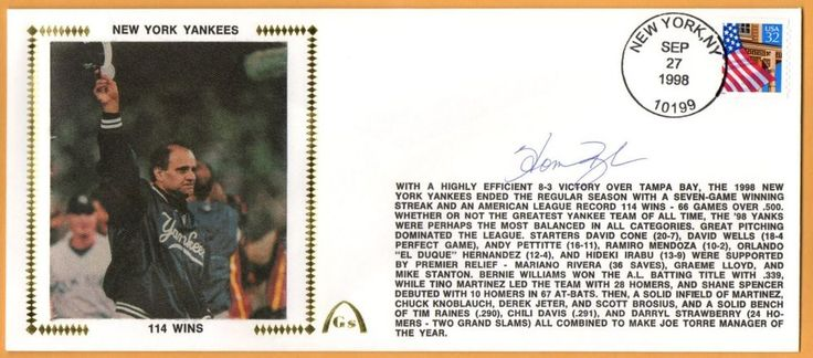Homer Bush BLEM New York Yankees 114 Wins Autographed Gateway Stamp Envelope