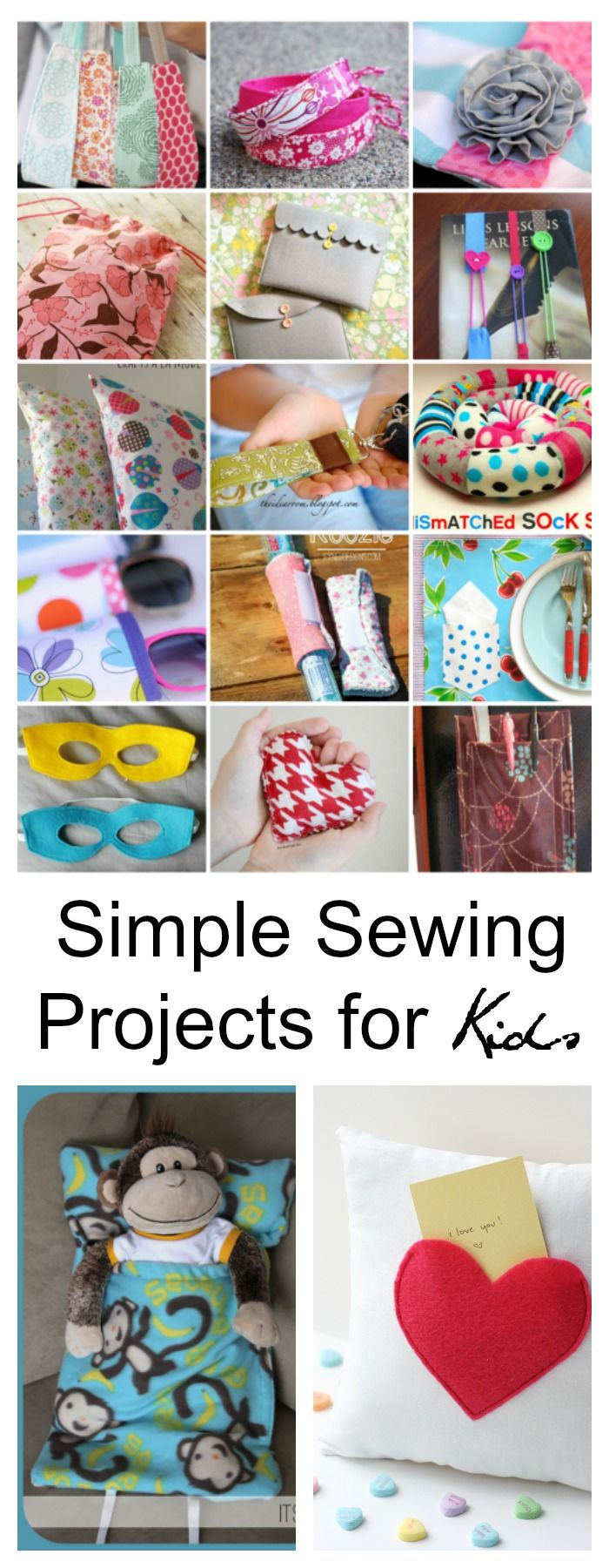 With these Simple Sewing Projects for Kids you can choose a project a week and by the end of the summer your kids will have lots of handmade gifts to give.