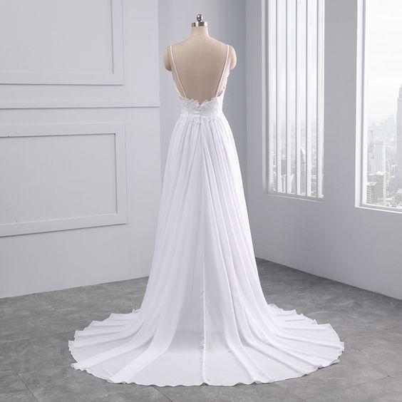 Beautiful Sleeveless Appliques Lace Pearls Beach Scalloped Wedding Dress - Uniqistic.com #wedding #weddingideas #weddings #weddingdresses #weddingdress #bridaldress #bridaldresses