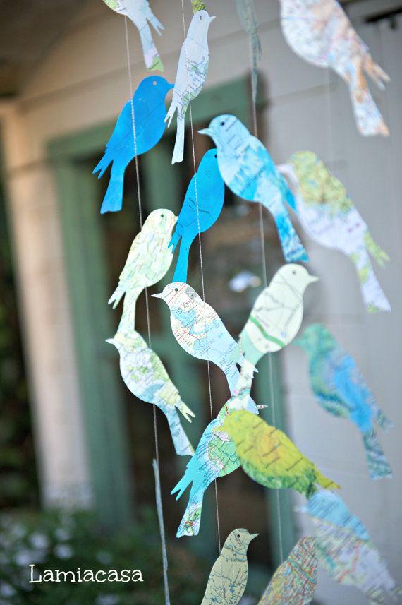 Graduation Party Decorations, Travel Theme Wedding, Birds of the World, Destination Wedding, Bird Garland, Home Decor ,, Brass