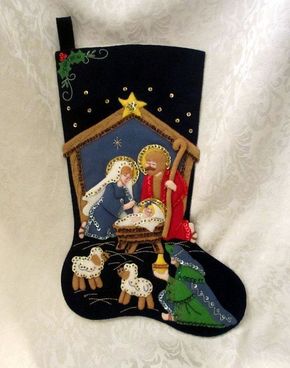 Vintage Handmade Christmas Stocking Embroidered by GaylesResales, $18.00