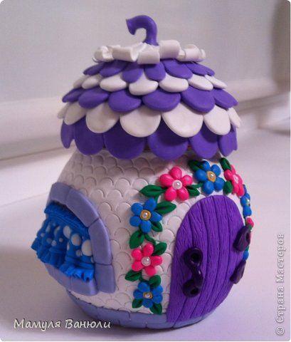 Декор предметов Игрушка Поделка изделие Лепка Сказочный домик-баночка Банки стеклянные Пластика фото 1