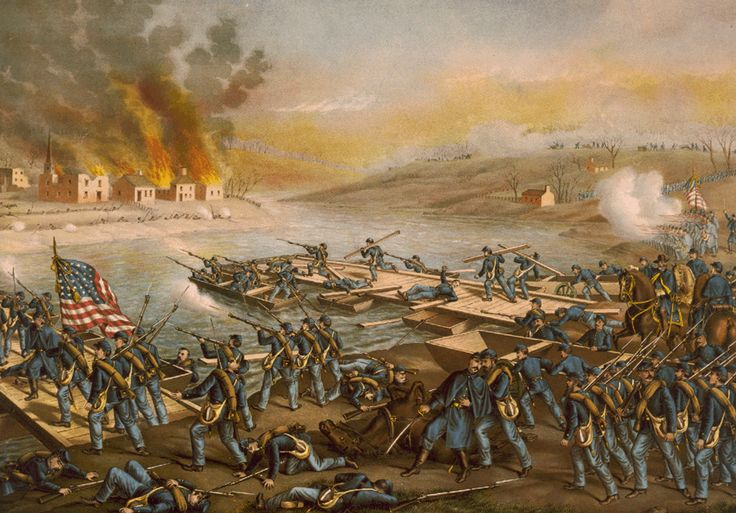 Battle of Fredericksburg: The Army of the Potomac crossing the Rappahannock: in the morning of December 13, 1862, under the command of Generals Burnside, Sumner, Hooker & Franklin.