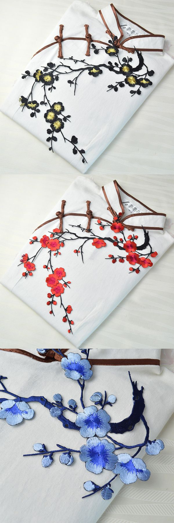 US$1.89+Free Shipping. Brand new and high quality. A beautiful plum flower clothing embroidery with bright colors. let your clothes and fabric add highlights. There is hot melt adhesive on the back, easy to use, just Ironing with Iron or sewing it.