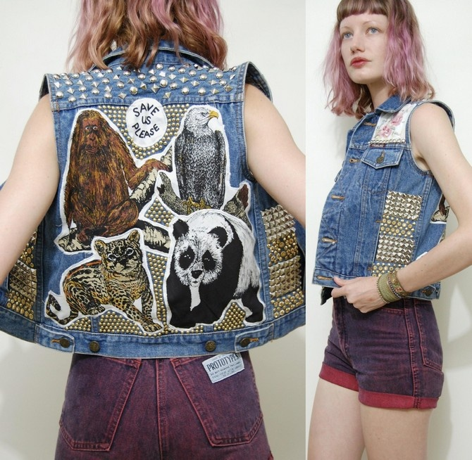INCREDIBLE JACKET - Sleeveless denim jacket customised with animal patches, studs and floral fabric. £145 from ebay