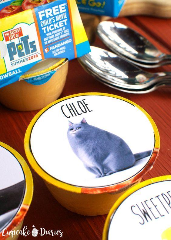 """""""Das geheime Leben der Haustiere"""" druckbare Apfelmus Cup Topper #MottsMovieBonus #ad   – Printables"""