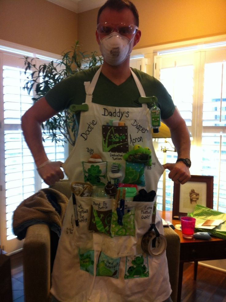 Daddy's Dootie Apron.  Has all the necessity items for a new daddy changing the baby's diaper!  Customized the way you  want!  What a unique gift.  Most Daddy aprons are only the half apron, not the full apron.  Everyone LOVED it.