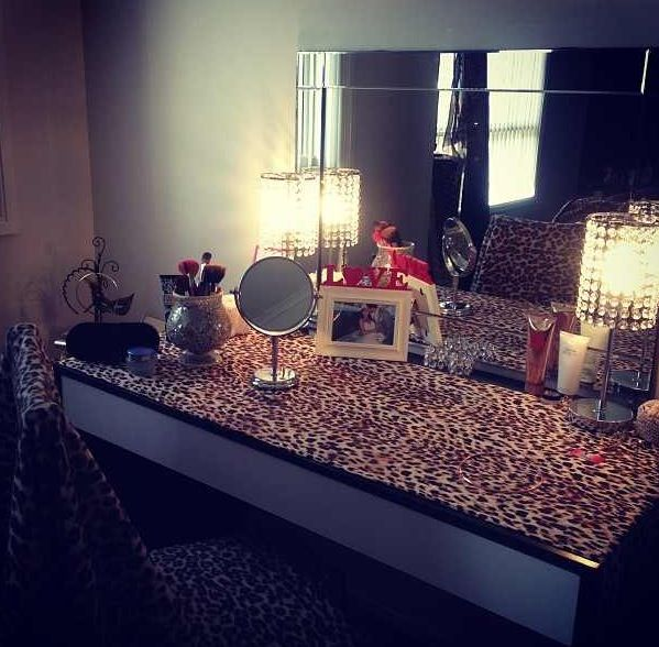 Ikea Vanity Table with cheetah print cloth underneath the glass part. Neat idea♥♥