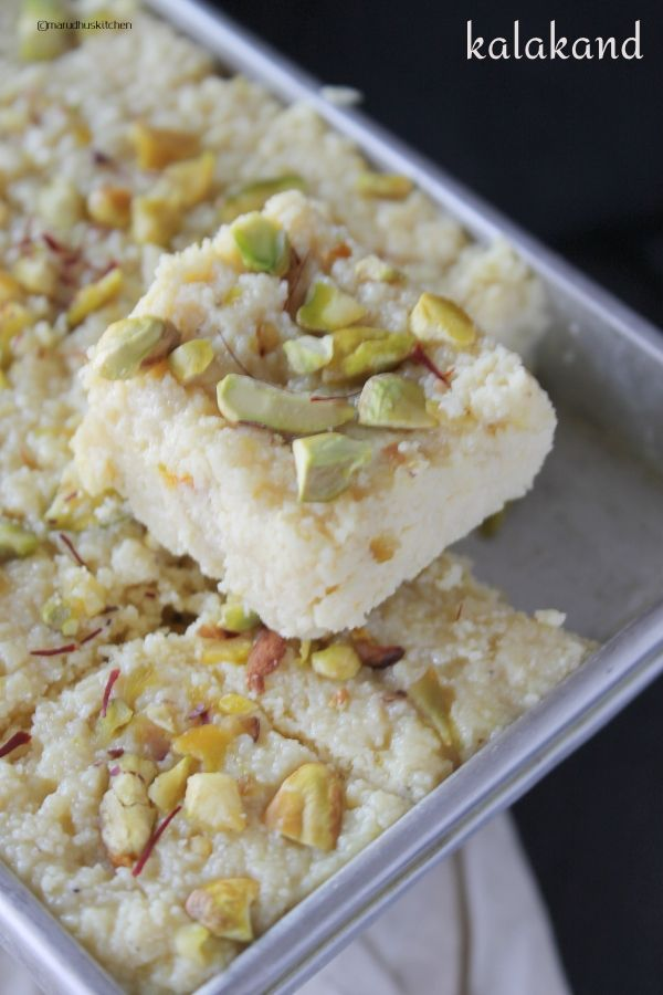 Kalakand Recipe With Condensed Milk Kesar Kalakand Burfi Marudhuskitchen Recipe In 2020 Kalakand Recipe Condensed Milk Recipes Recipes