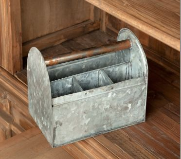 "This galvanized tool caddy makes a great utensil holder for summer bbq's. Can also hold small tools for around the house projects. Made of Metal Dimensions {8"" x 5"" x 7.5""}"