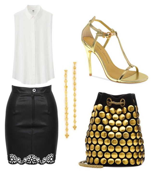 """""""Gold"""" by aleksaaryal on Polyvore featuring Jérôme Dreyfuss, MINKPINK, Chinese Laundry, Uniqlo and Gorjana"""