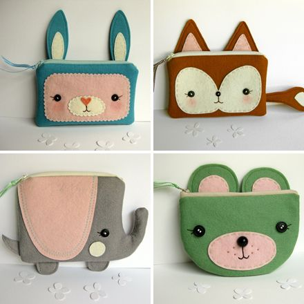 Animal plush pouches, from Blueberry Bandit - inspiration :) Etsy store here with MANY adorable projects - https://www.etsy.com/ca/shop/blueberrybandit?page=1 :)