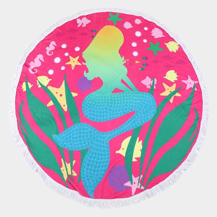 """Mermaid Round Beach Towel with Tassels. Size : 70"""" X 70"""" Material : 100% Cotton(Terry Towel)"""