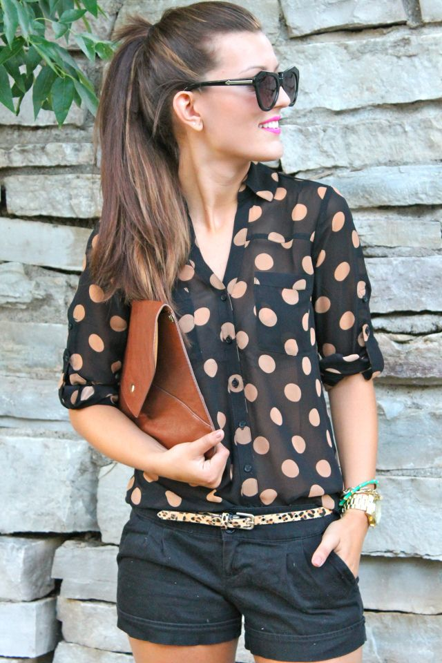 Cute summer outfit: black shorts, polka dot shirt, metallic belt, sunglasses, & a ponytail.