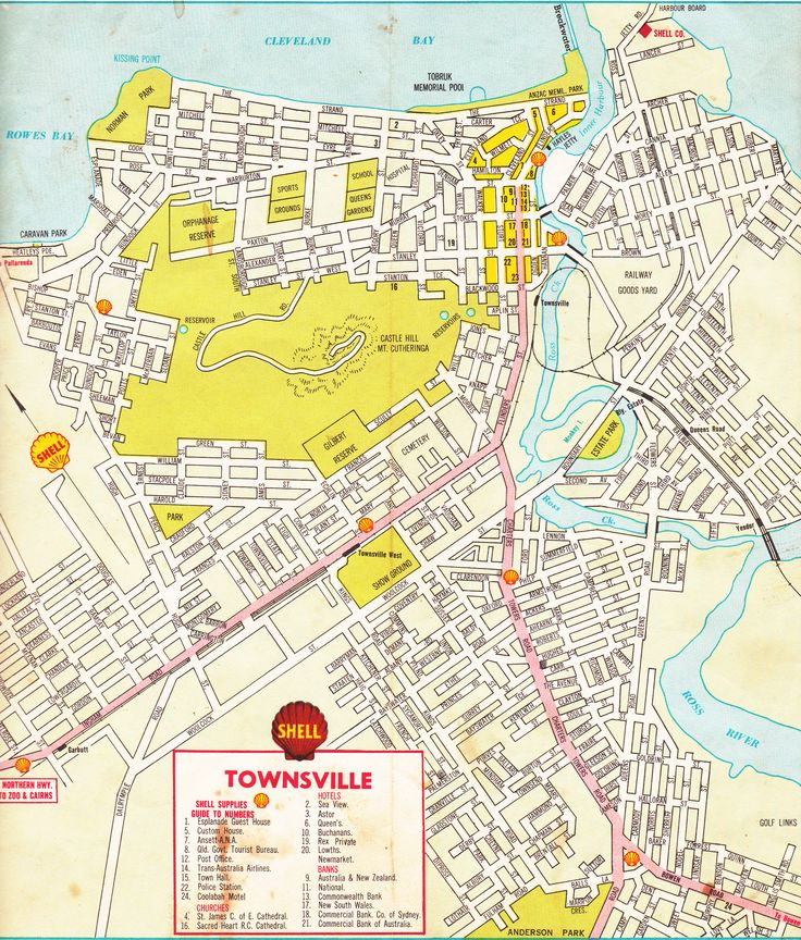 Shell road map of Townsville, NQ c1960's