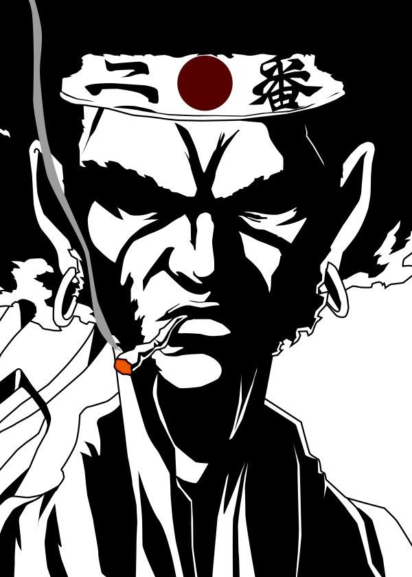 Smoking Afro.  Fanart from Afro Samurai. Based on the Anime Afro Samurai.