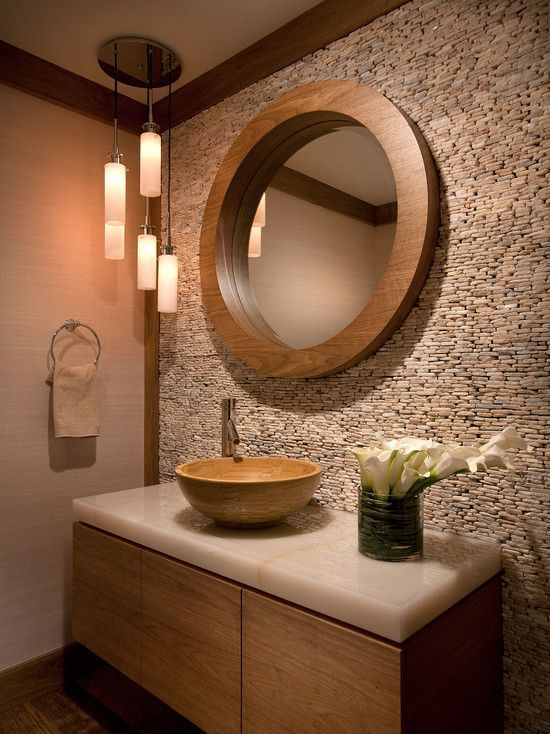 contemporary powder room with calacatta gold polished marble flush 890 bamboo vessel bathroom sink - Bamboo Bathroom Design