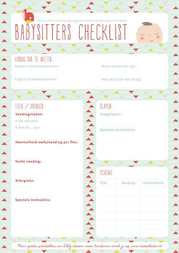 Downloads - Babysitter Checklist - Moodkids | Moodkids