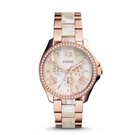 Women's Fossil Watch CECILE AM4616 Stainless Steel Rose Gold Horn NWT Attached #Fossil