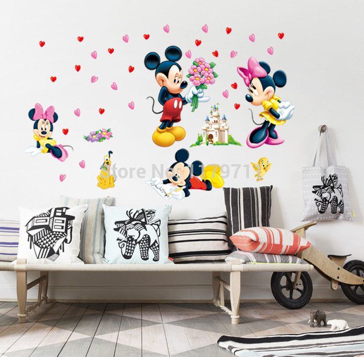 Cheap decorative stickers for walls, Buy Quality decorative wall art stickers directly from China sticker resin Suppliers: mickey mouse and minnie mouse wall sticker children room nursery decoration diy adhesive mural removable vinyl wallpaper