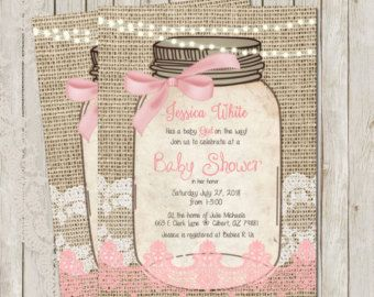 Rustic Baby Shower Invitation Burlap Invite Mason jar Boy