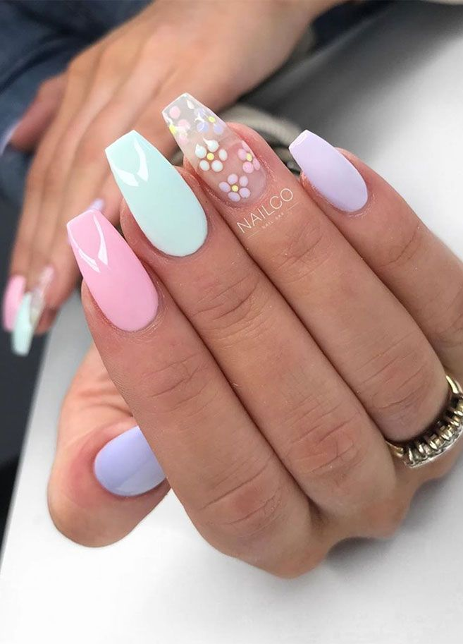 132 Simple Short Acrylic Summer Nails Designs For 2019 18 In 2020 With Images Short Acrylic Nails Designs Blue Acrylic Nails Summer Acrylic Nails