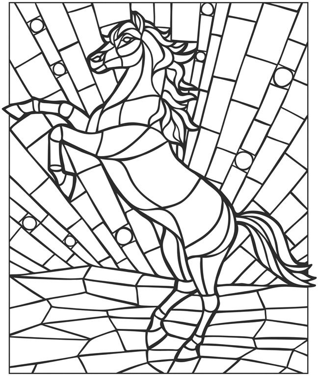 Animal Mosaic Colouring Pages : Mosaic horse coloring pages