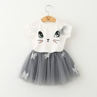 Cuckoo Kids Set: Cat Face Print Short Sleeve T-Shirt + Tutu Skirt Top - White & Skirt - Gray