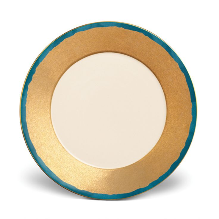 Add A Touch Of Luxury To Your Dining Table With This Striking Fortuny Teal Edged Dinner Plate By LObjet Meticulously Crafted From Earthenware Gold