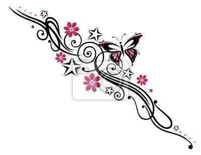 Fotobehang tattoo, bloem, vlinder, roze, roze - flower • PIXERS.nl
