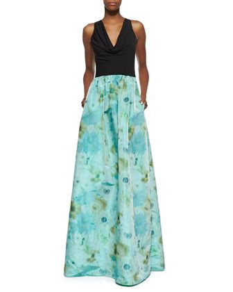 Sleeveless Cowl Neck Gown with Floral Skirt, Black/Turquoise/Green by David Meister at Neiman Marcus.