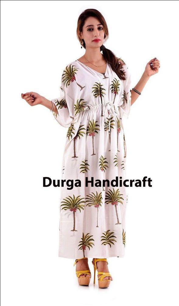 Long Kaftan Dress Women Caftan Block Print Boho Maxi Indian Top 100% Cotton  top  Handmade  KaftanMaxiDress  Casual 5bb549959