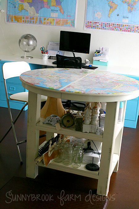 counter height round work table with storage shelves and decoupaged top ikea hack
