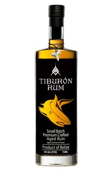 Tiburon aged rum from Belize features a second barreling in Kentucky Oak Bourbon barrels with the image of a shark on the label.